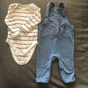 Marks & Spencer baby cotton dungarees set 9-12mths